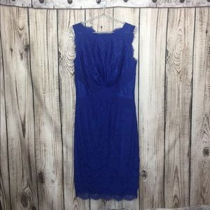 Tadashi Shoji Royal Blue Full Lace Shift Dress 12